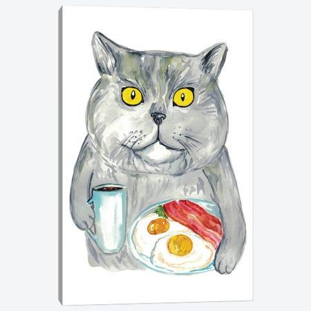 Cat Breakfast Canvas Print #MSG20} by Maryna Salagub Canvas Artwork