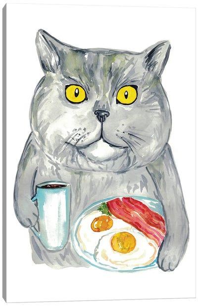 Cat Breakfast Canvas Art Print