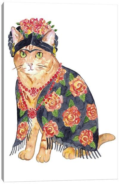 Cat Frida Art Canvas Art Print