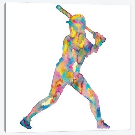Baseball Girl Watercolor Canvas Print #MSG2} by Maryna Salagub Canvas Artwork