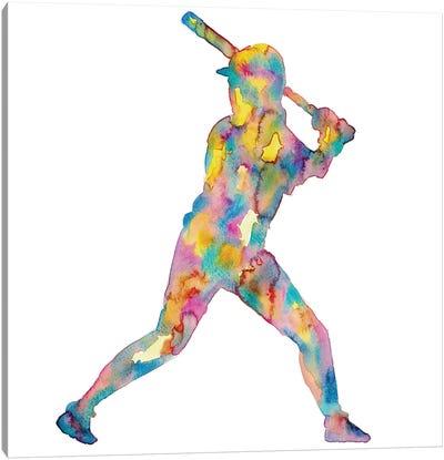 Baseball Girl Watercolor Canvas Art Print