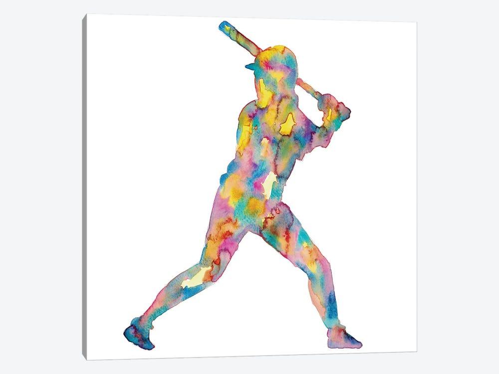 Baseball Girl Watercolor by Maryna Salagub 1-piece Canvas Art
