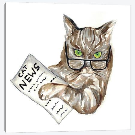 Cat Newspaper Canvas Print #MSG33} by Maryna Salagub Canvas Art Print
