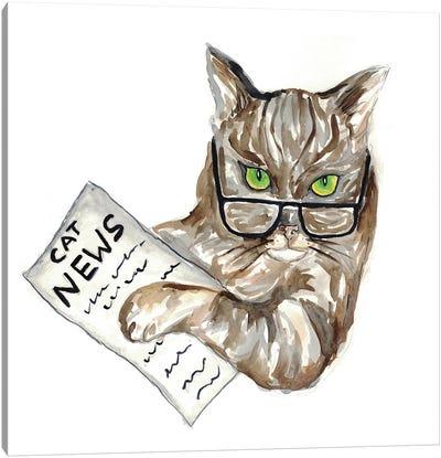 Cat Newspaper Canvas Art Print