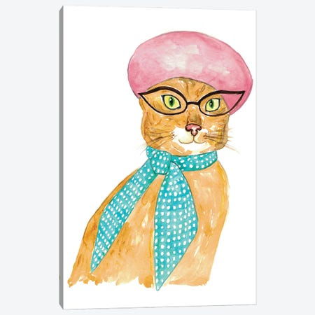 Cat In Hat Canvas Print #MSG34} by Maryna Salagub Canvas Art