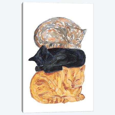 Cat Pile Canvas Print #MSG35} by Maryna Salagub Canvas Artwork