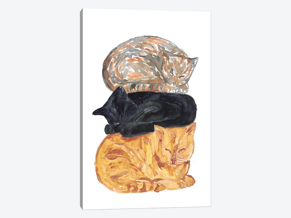 Cat Pile by Maryna Salagub 1-piece Canvas Art