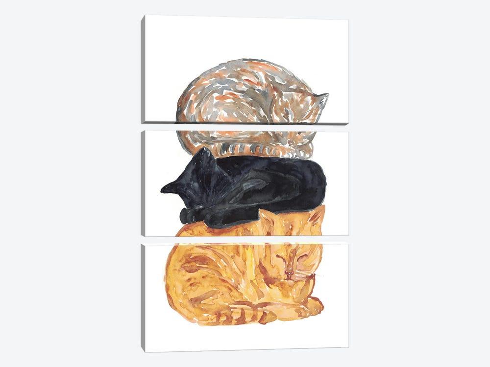 Cat Pile by Maryna Salagub 3-piece Canvas Artwork