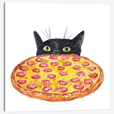 Cat Pizza Canvas Print #MSG36} by Maryna Salagub Canvas Wall Art
