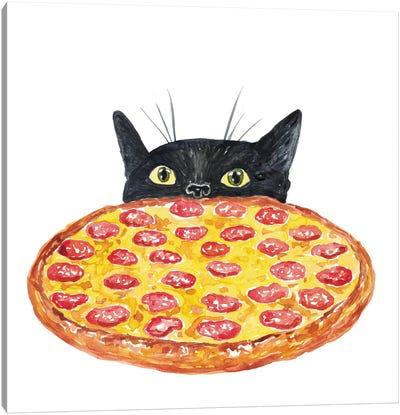 Cat Pizza Canvas Art Print