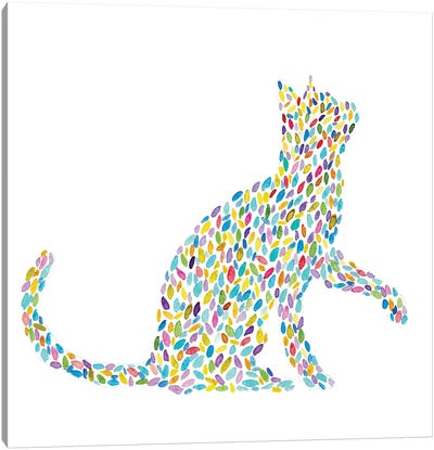 Cat Floral Canvas Art Print