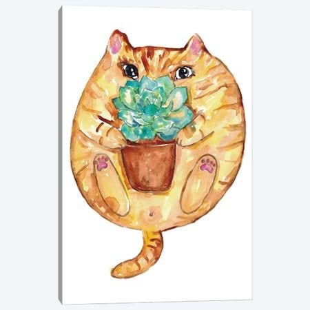 Cat Succulent Canvas Print #MSG42} by Maryna Salagub Canvas Art