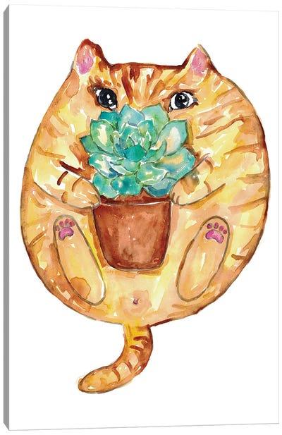 Cat Succulent Canvas Art Print
