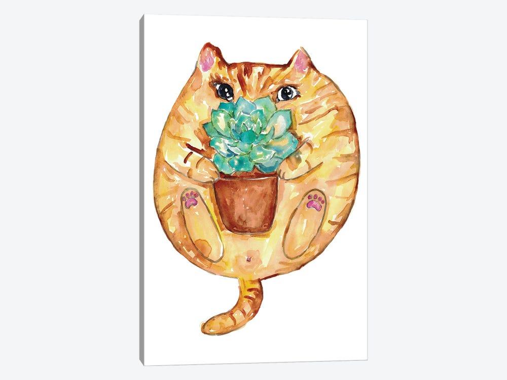 Cat Succulent by Maryna Salagub 1-piece Canvas Art
