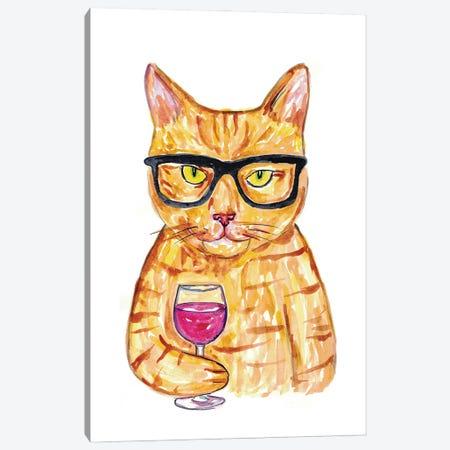 Cat Wine Canvas Print #MSG45} by Maryna Salagub Art Print