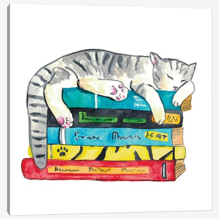 Cat Reader Canvas Print #MSG47} by Maryna Salagub Canvas Print