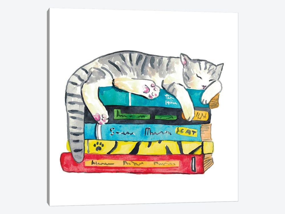 Cat Reader by Maryna Salagub 1-piece Canvas Art Print