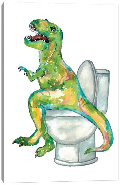 Dinosaur Toilet Canvas Art Print