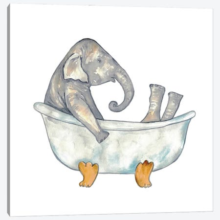 Elephant Bath Canvas Print #MSG58} by Maryna Salagub Canvas Print