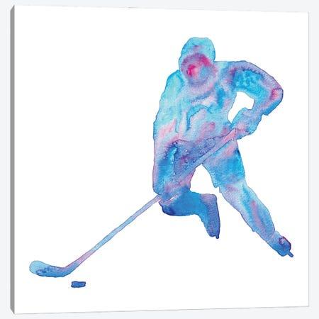 Hockey Art Blue Watercolor Canvas Print #MSG75} by Maryna Salagub Canvas Art