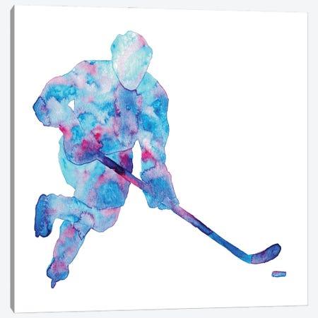 Hockey Watercolor Canvas Print #MSG76} by Maryna Salagub Canvas Artwork
