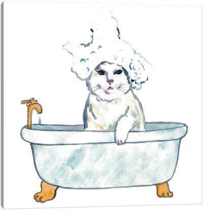 Cat Bath Watercolor Canvas Art Print