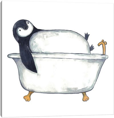 Penguin Bath Canvas Art Print