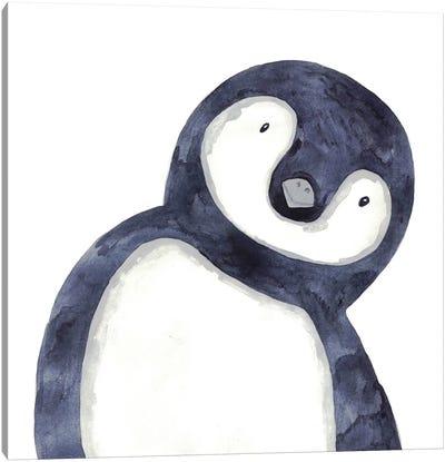 Penguin Peeking Canvas Art Print