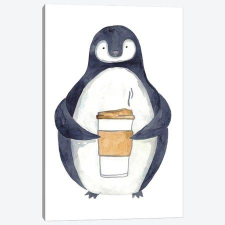 Penguin Coffee Canvas Print #MSG94} by Maryna Salagub Canvas Wall Art
