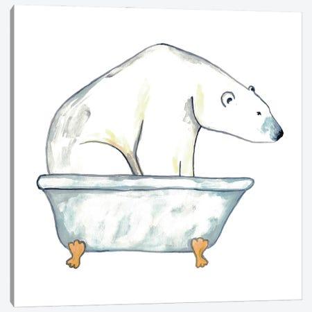 Polar Bear Bath Canvas Print #MSG95} by Maryna Salagub Canvas Wall Art