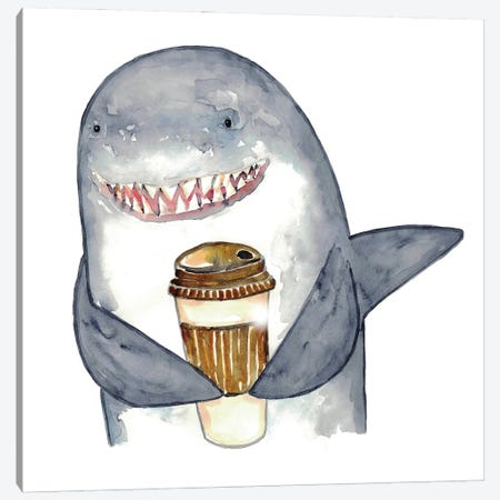 Shark Coffee Canvas Print #MSG98} by Maryna Salagub Canvas Art Print