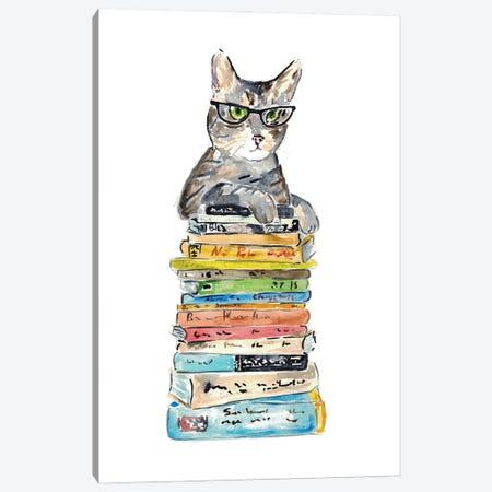 Cat Reading Books Canvas Print #MSG9} by Maryna Salagub Canvas Artwork
