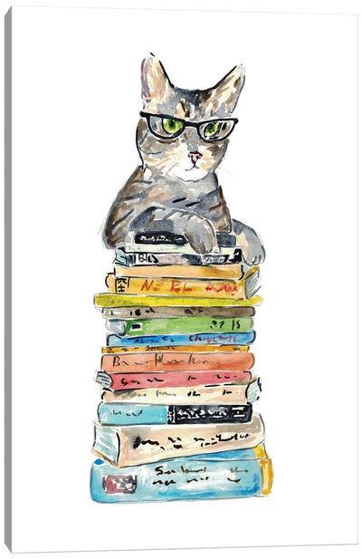 Cat Reading Books Canvas Art Print