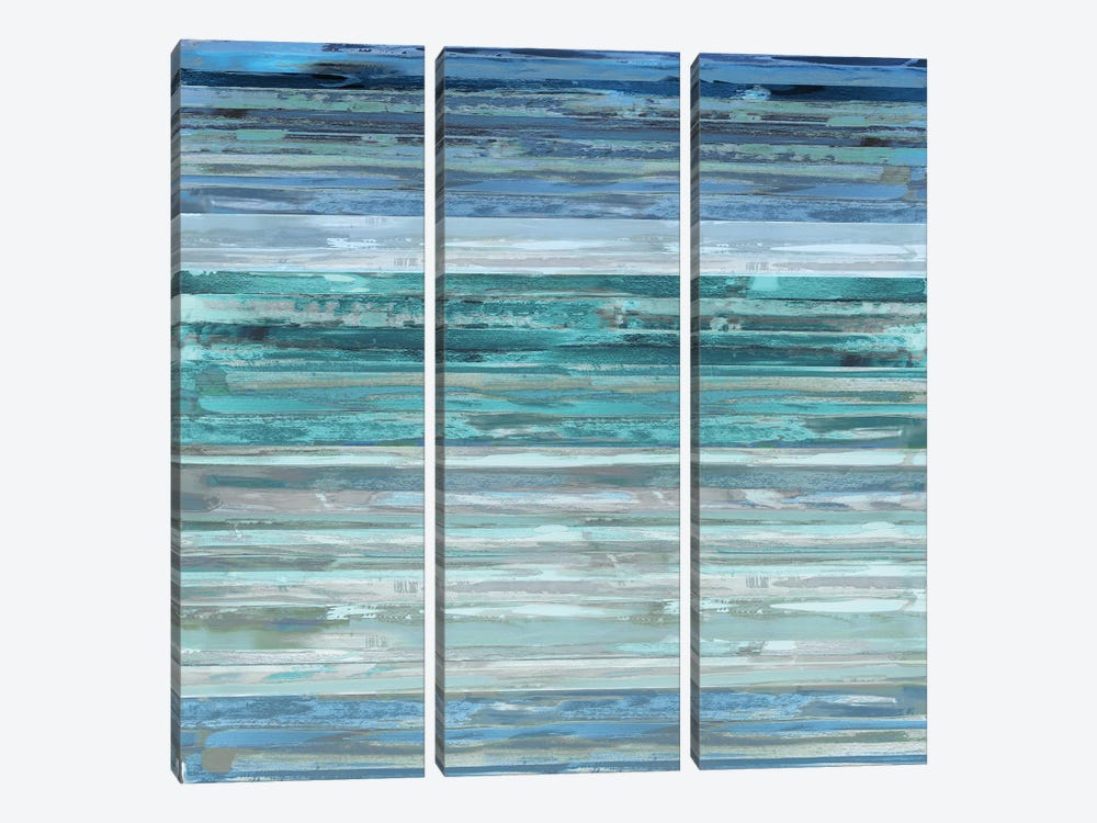 Strata In Aqua by Matt Shields 3-piece Canvas Print