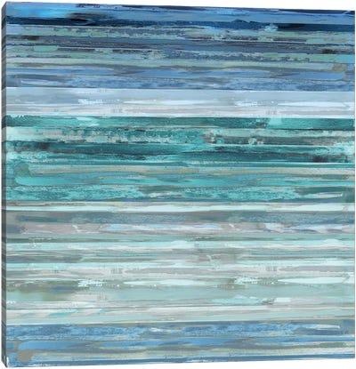 Strata In Aqua Canvas Art Print