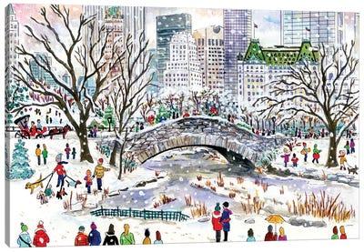 Central Park Bridge Winter Canvas Art Print