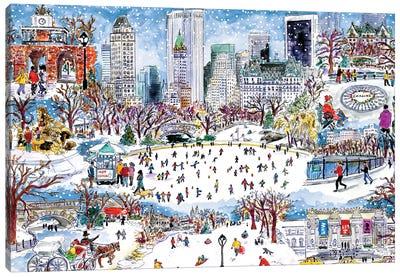 Snowfall Central Park Canvas Art Print