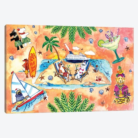 Tropical Dogs Canvas Print #MSI85} by Michael Storrings Canvas Print