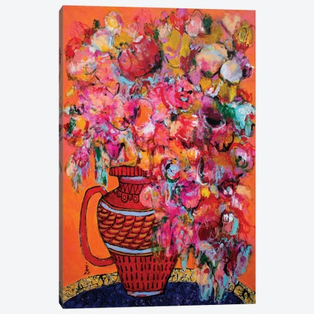 A Red Vase With A Handle Canvas Print #MSK127} by Misako Chida Canvas Art