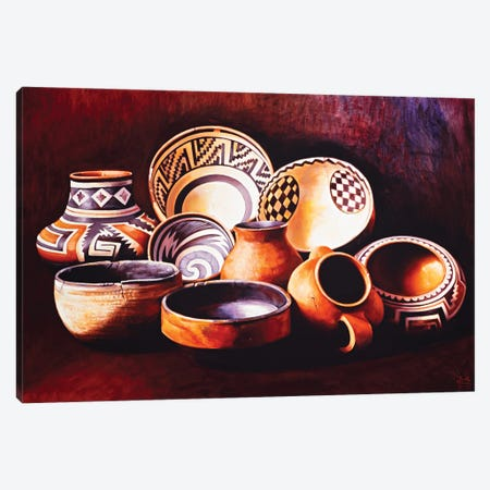 Indian Pots Canvas Print #MSV18} by M & E Stoyanov Fine Art Studio Canvas Wall Art