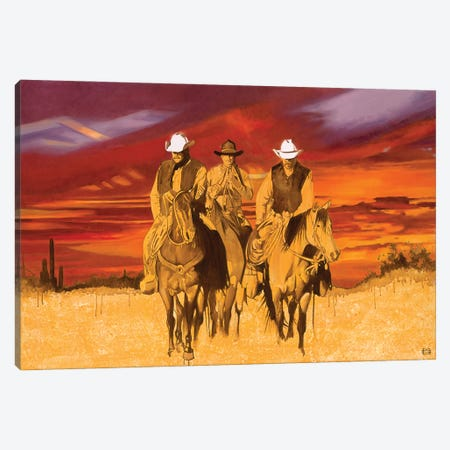 Old West Cowboys Canvas Print #MSV24} by M & E Stoyanov Fine Art Studio Canvas Wall Art