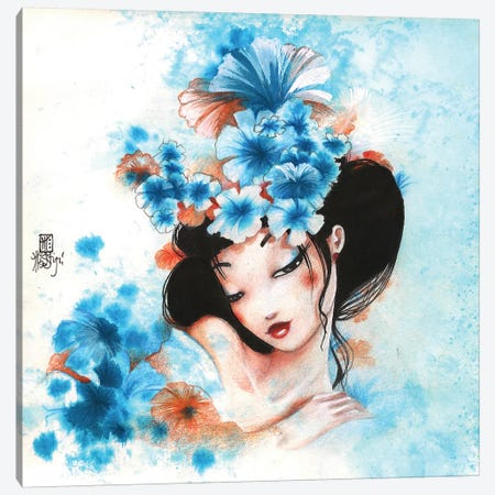 Blue Flowers Canvas Print #MTG10} by Misstigri Canvas Wall Art