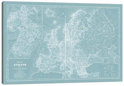 Map of Europe on Aqua Canvas Art Print