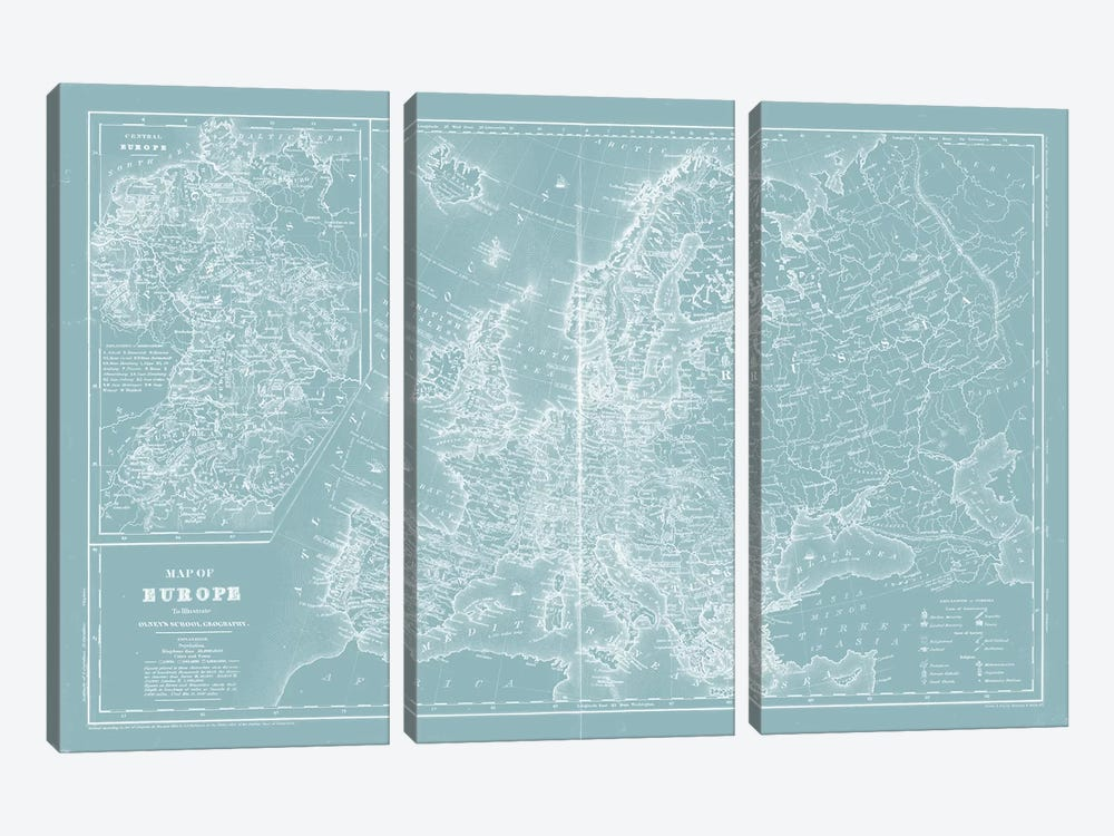 Map of Europe on Aqua by Mitchell 3-piece Art Print