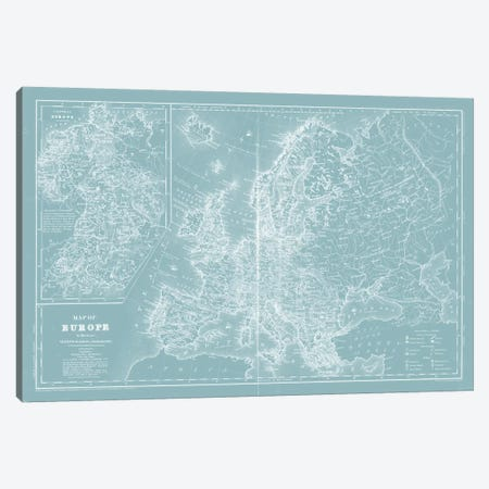 Map of Europe on Aqua Canvas Print #MTL1} by Mitchell Canvas Artwork