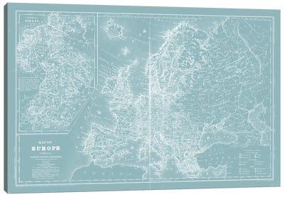Map of Europe on Aqua Canvas Art Print