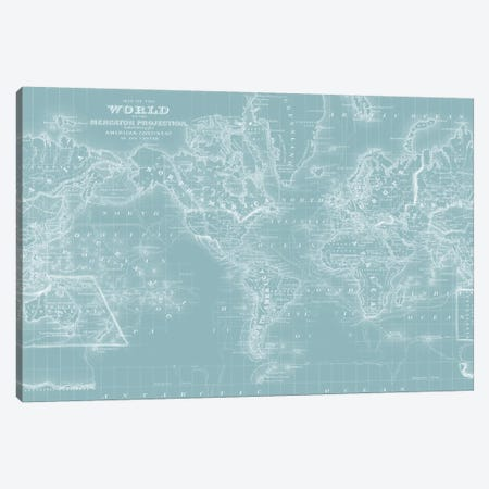 World Map on Aqua Canvas Print #MTL2} by Mitchell Canvas Wall Art