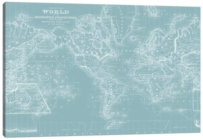World Map on Aqua Canvas Art Print