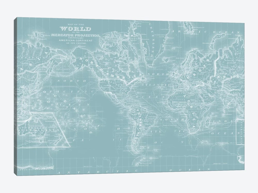 World Map on Aqua by Mitchell 1-piece Canvas Artwork