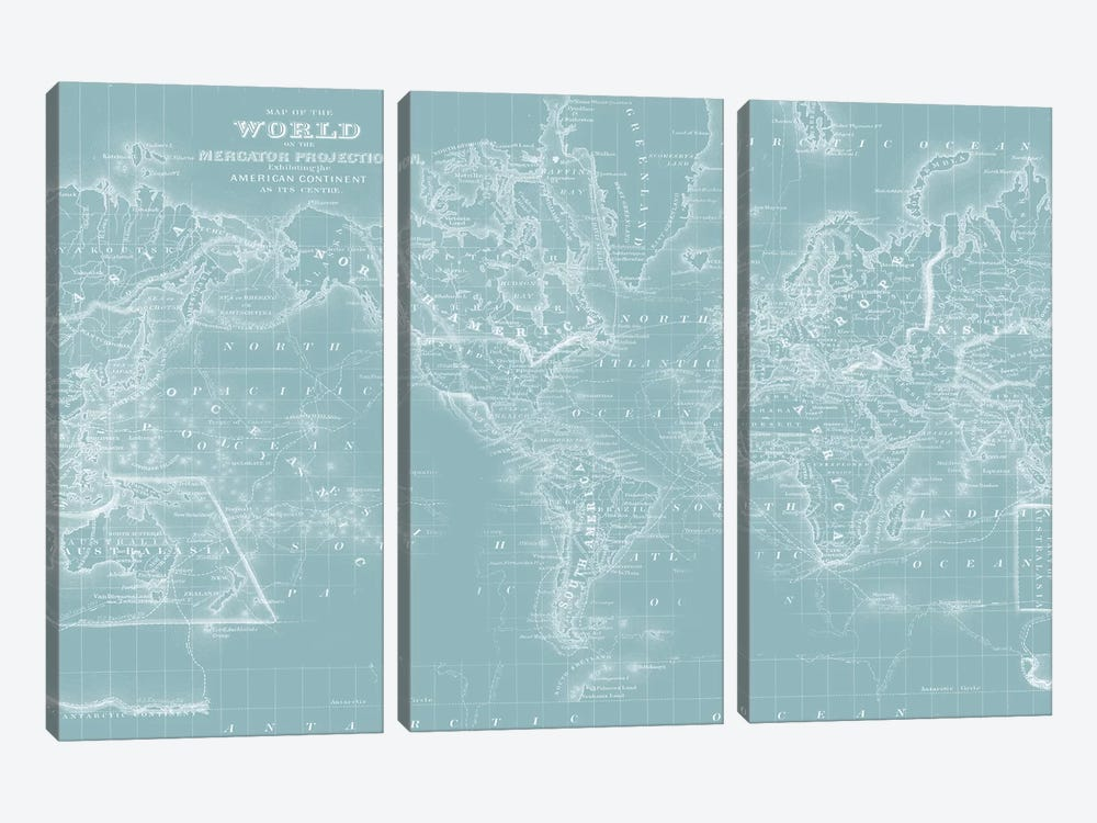 World Map on Aqua by Mitchell 3-piece Canvas Artwork